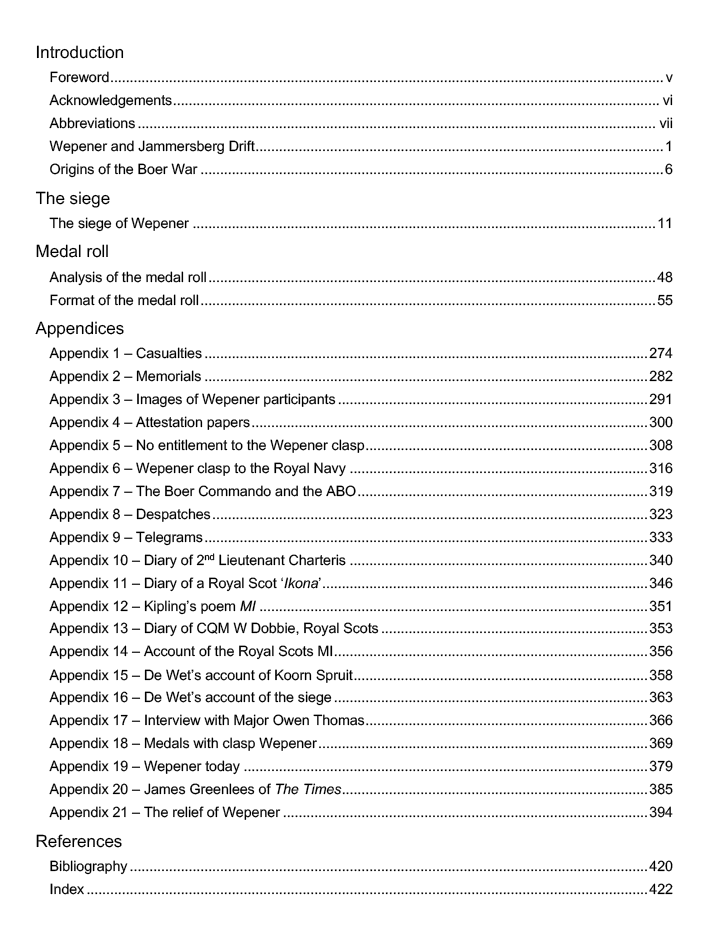 Wepener Table of Contents